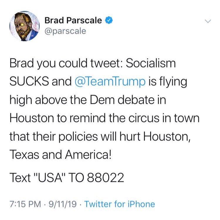 """So Trump's social media """"genius"""", @parscale, cut and pasted a suggested tweet from someone and posted it?   He deleted it.  But not before we got a screenshot😊"""