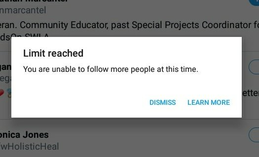 Is anyone else having trouble with the follow limit, I only followed a few people today (nowhere near 400) but this still comes up..