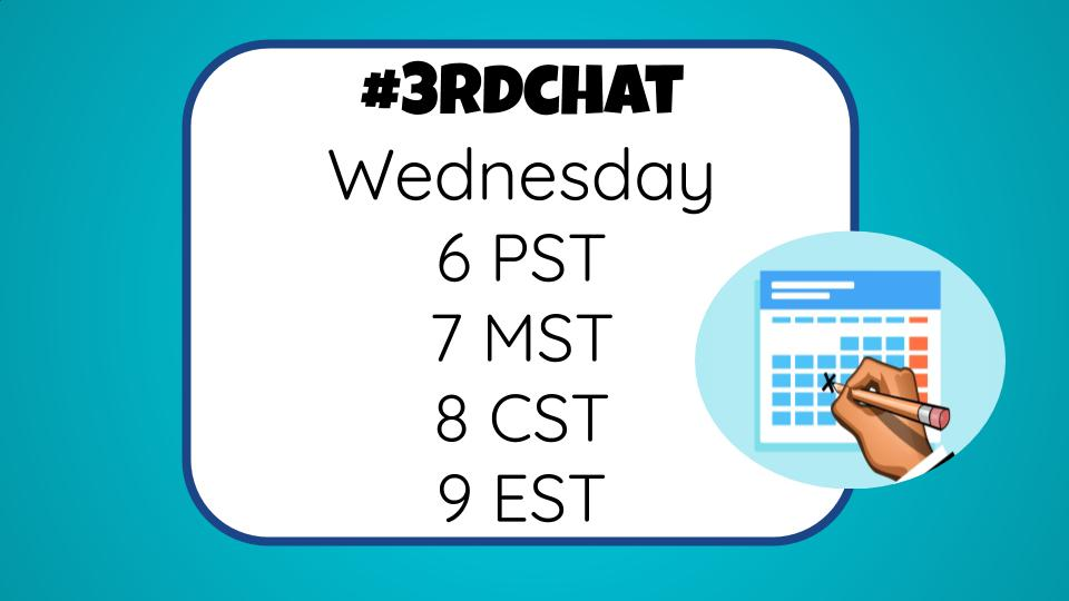 Set a reminder for #3rdChat!! Tag friends and Invite them to next week's chat :)