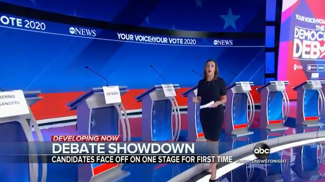 DEBATE NIGHT: @ABC News will host and @DavidMuir will be among the moderators Thursday night in Houston when 10 leading Democratic candidates meet on the debate stage, with frontrunner Joe Biden in the center. @marykbruce reports. https://abcn.ws/34CYwSW
