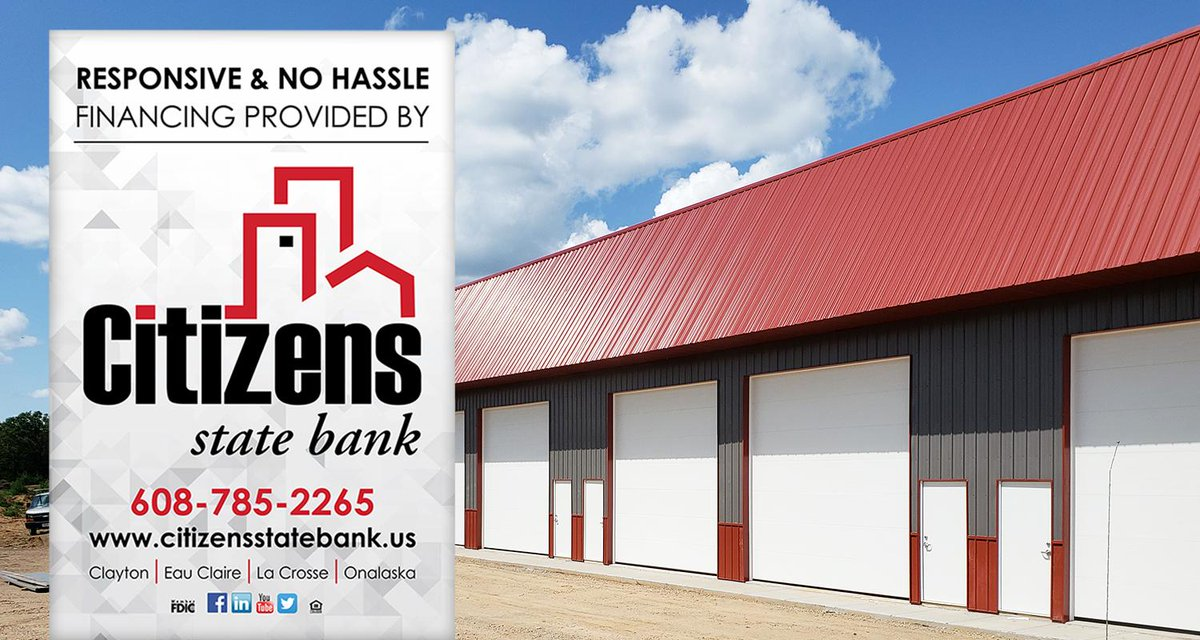 Grip's Custom Storage is growing in Eau Claire, and we are thrilled to be a part of this expansion! Check out the nearly completed second-phase of this project.  Responsive and no-hassle financing: just another part of the #CitizensExperience.  Learn more: https://t.co/SMi35bNsv1 https://t.co/p2Go2KEpN5