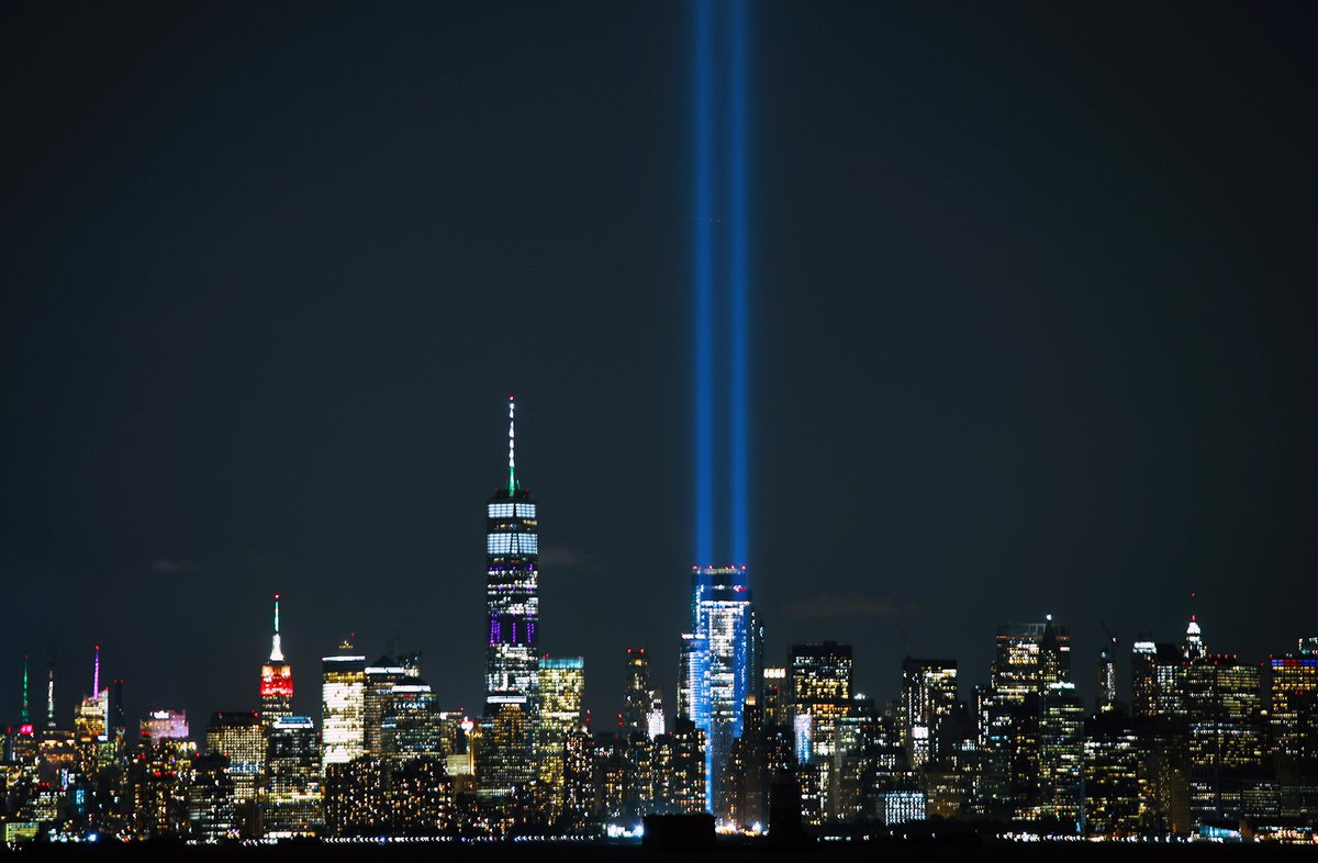 The #TributeInLight shines for all innocent lives taken on September 11, 2001 #NeverForget<br>http://pic.twitter.com/Ctt1AAPpYu