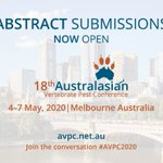 Calling those working in the #pestanimal management sector. Showcase your work to your peers at the 18th Australasian Vertebrate Pest Conference. Abstract submissions now open https://t.co/wdR2RKAvLH  #AVPC2020 is hosted by @centreinvasives with @VicGovAg