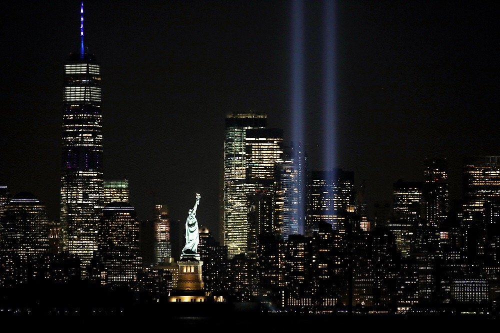 In darkness we shine brightest. Seen from NYC and beyond, the twin beams of Tribute in Light illuminate the skyline on the 18th anniversary of 9/11. Share your photos and messages of remembrance with #TributeInLight and #Honor911.<br>http://pic.twitter.com/mORxfxhISI