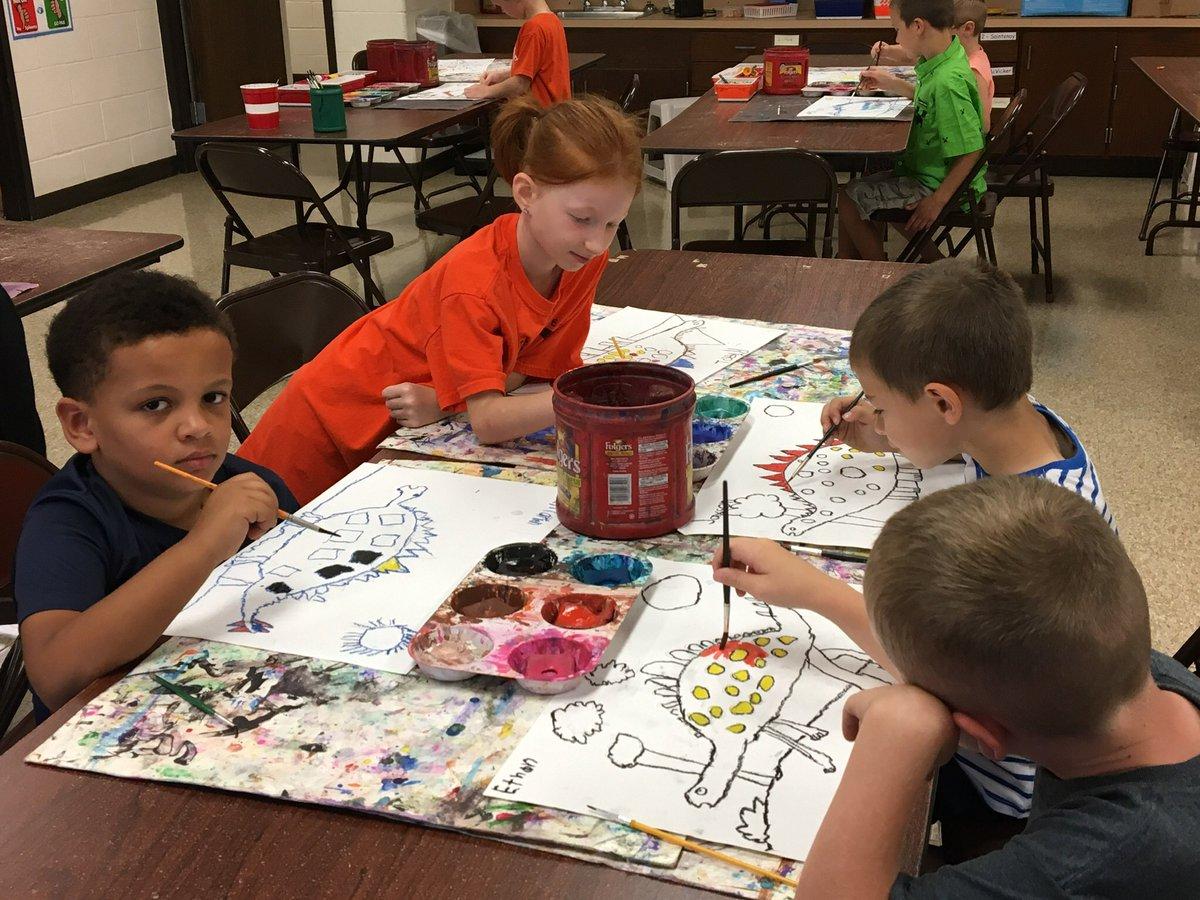 We've got stegosauruses running wild in 1st grade Art classes! <br>http://pic.twitter.com/dy0k3nXYY1