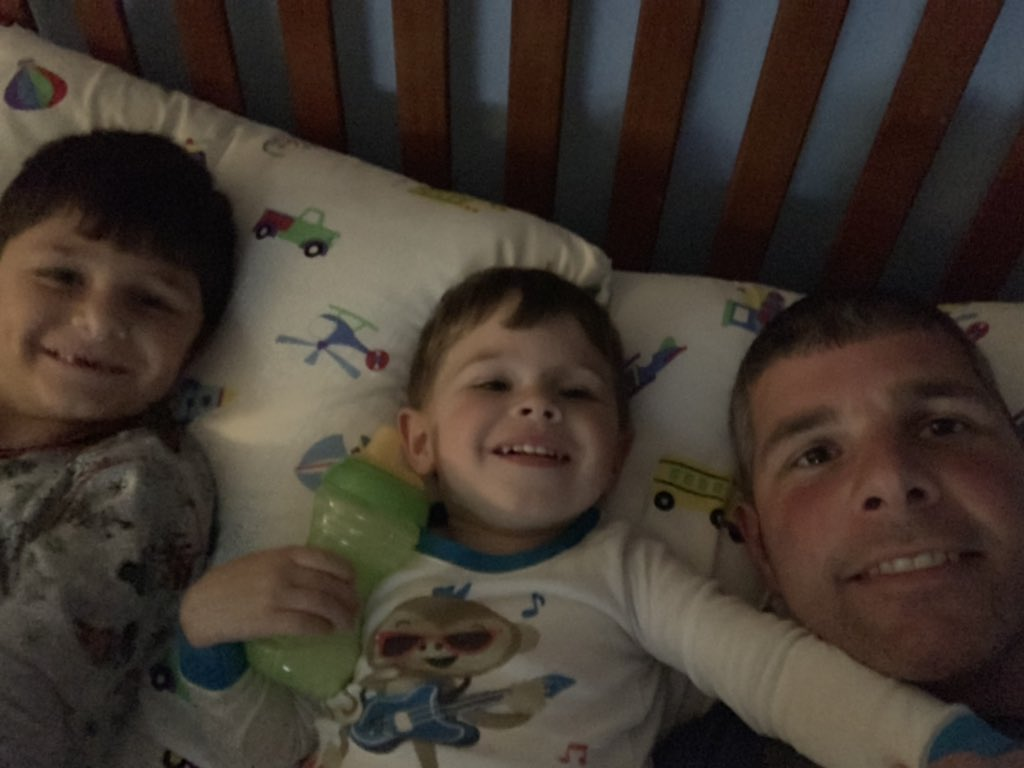 After completion today I made it home and showered in time for one more selfie with these two that are still awake At 9:20 pm  @Parkeology #parkeologychallenge <br>http://pic.twitter.com/r7btnB5Zem