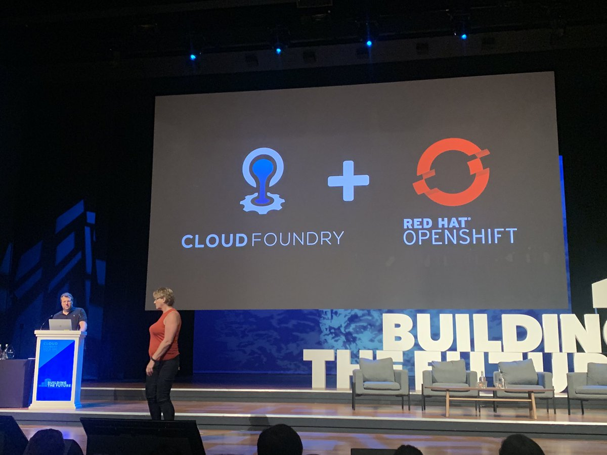 Cloud Foundry on OpenShift, using #ProjectEirini, on IBM Cloud. The power of kubernetes under the covers means you don't have to choose — it all works together, out of the box. #cfsummit <br>http://pic.twitter.com/oUnokONspu