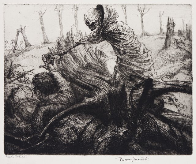 """I've been listening to a podcast on WW1 and got reminded of an artist named Percy Smith, his series on trench warfare, """"The Dance of Death,"""" is still extremely powerful. <br>http://pic.twitter.com/OspNvy3tZ4"""