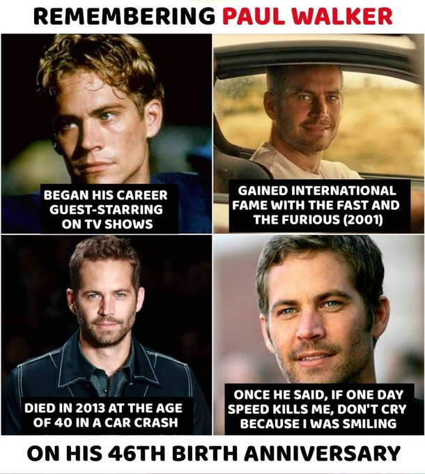 His 46th Birthday. Happy Birthday Paul Walker.