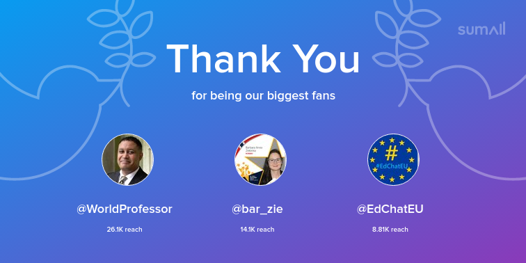 Our biggest fans this week: WorldProfessor, bar_zie, EdChatEU. Thank you! via sumall.com/thankyou?utm_s…
