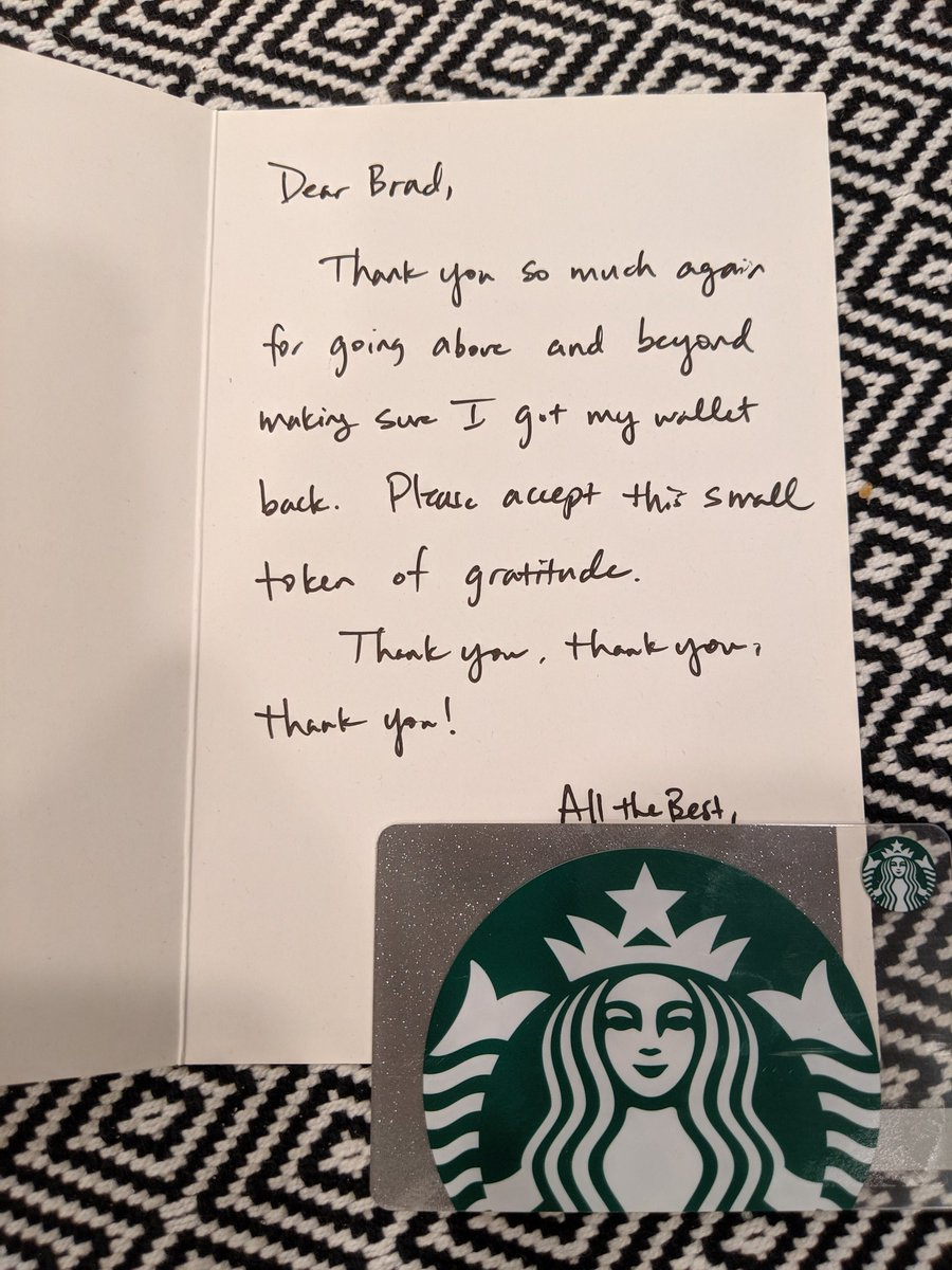 Got an awesome thank you note for returning the wallet the other day. FeelsGoodMan.
