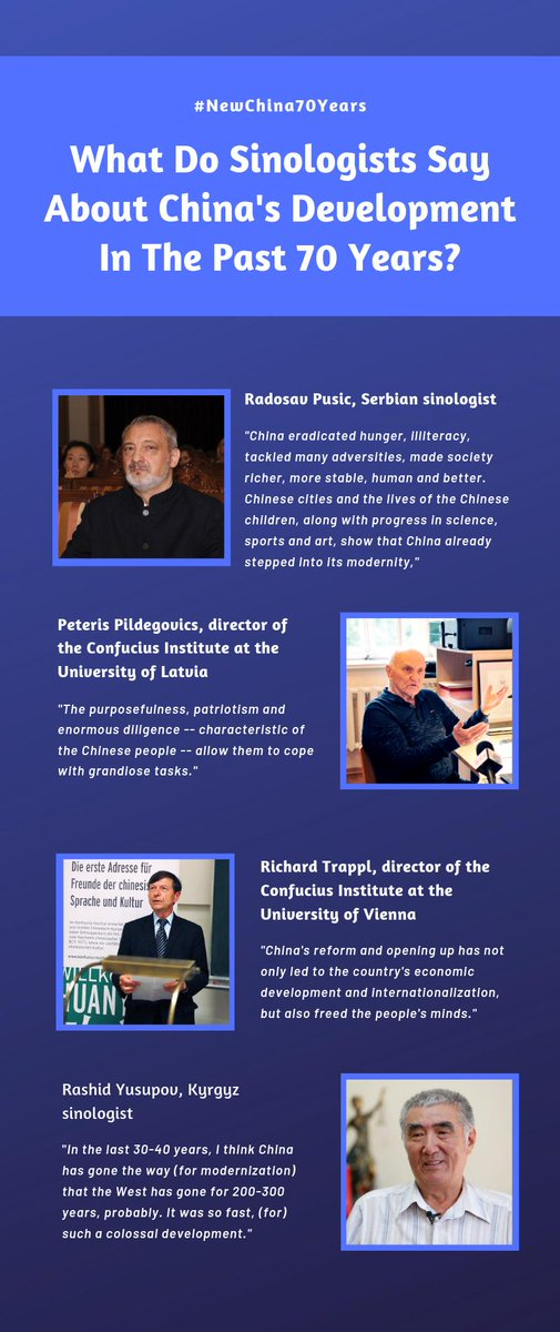 Congratulating New China on the 70th anniversary of its founding,  sinologists from Serbia, Latvia, Austria and Kyrgyzstan express their view on China's development #NewChina70Years http://xhne.ws/2Gbyi http://xhne.ws/ZVI4x http://xhne.ws/D4INm http://xhne.ws/MNLPM