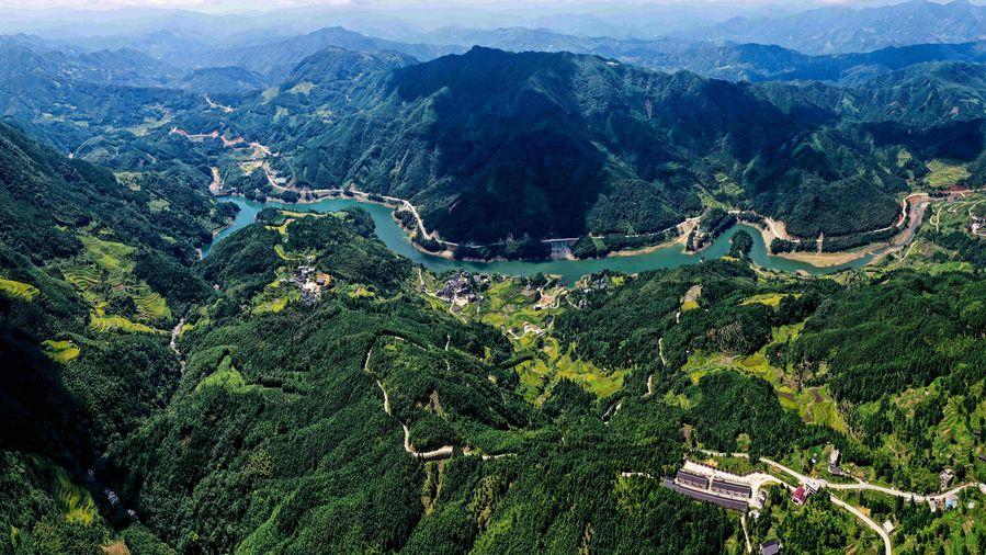 Aerial view of Rongshui Miao Autonomous County in China's Guangxi  http://xhne.ws/tA5nc