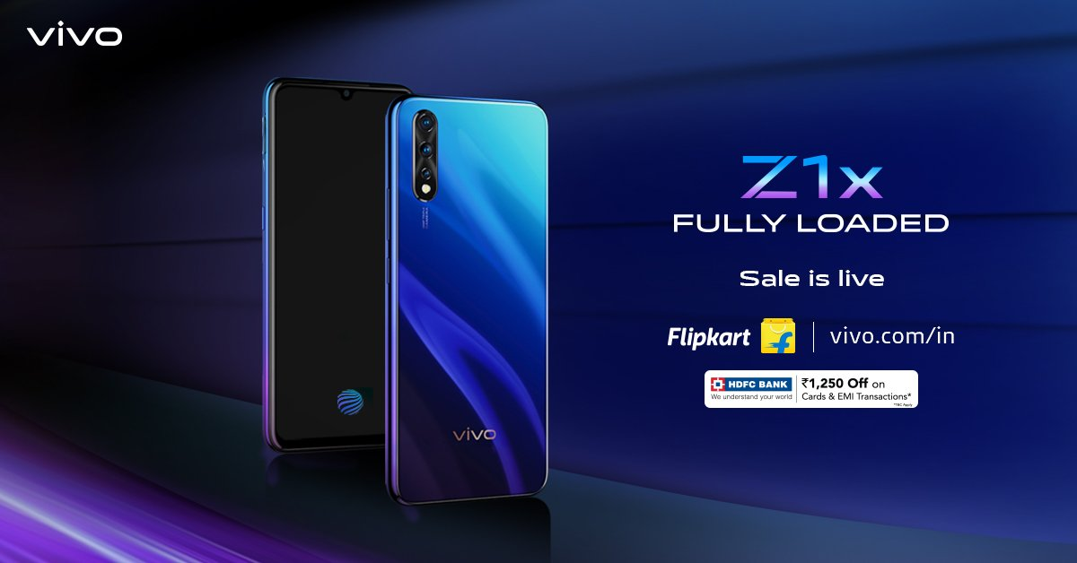 #FullyLoaded SALE is on! Rush to Flipkart & http://vivo.com and get the #vivoZ1x with 22.5W vivo FlashCharge & 4500mAh Battery. Avail exciting offers on your purchase on @Flipkart : http://bit.ly/2kcszP1 or http://vivo.com/in