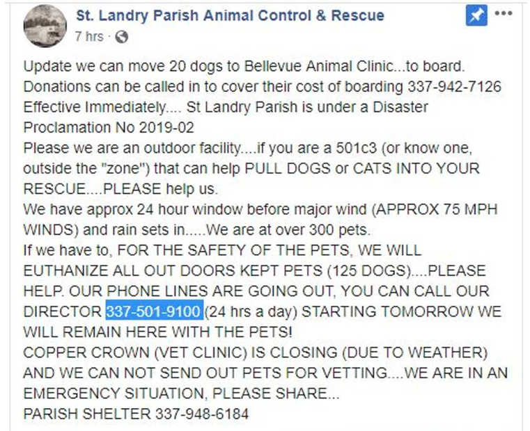 Tropical Storm Barry: St. Landry animal control hopes to avoid euthanizing dogs VetHub  https://www. vethub.info/2019/07/13/tro pical-storm-barry-st-landry-animal-control-hopes-to-avoid-euthanizing-dogs/  …  #EMERGENCY #TropicalStormBarry #vet<br>http://pic.twitter.com/L2ec3mMr72
