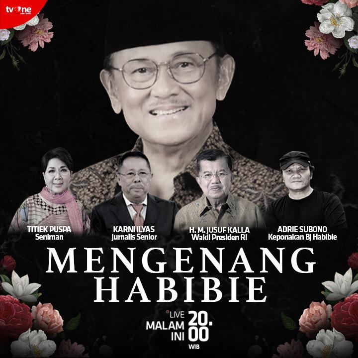 Kepergian Presiden ke-3 RI, BJ Habibie meninggalkan kenangan indah & mendalam bagi bangsa Indonesia. Hari ini, tvOne akan mengajak pemirsa untuk menyaksikan program Spesial Mengenang Habibie LIVE malam ini jam 20.00 WIB hanya di tvOne #MengenangHabibie #tvOneNews #BJHabibie