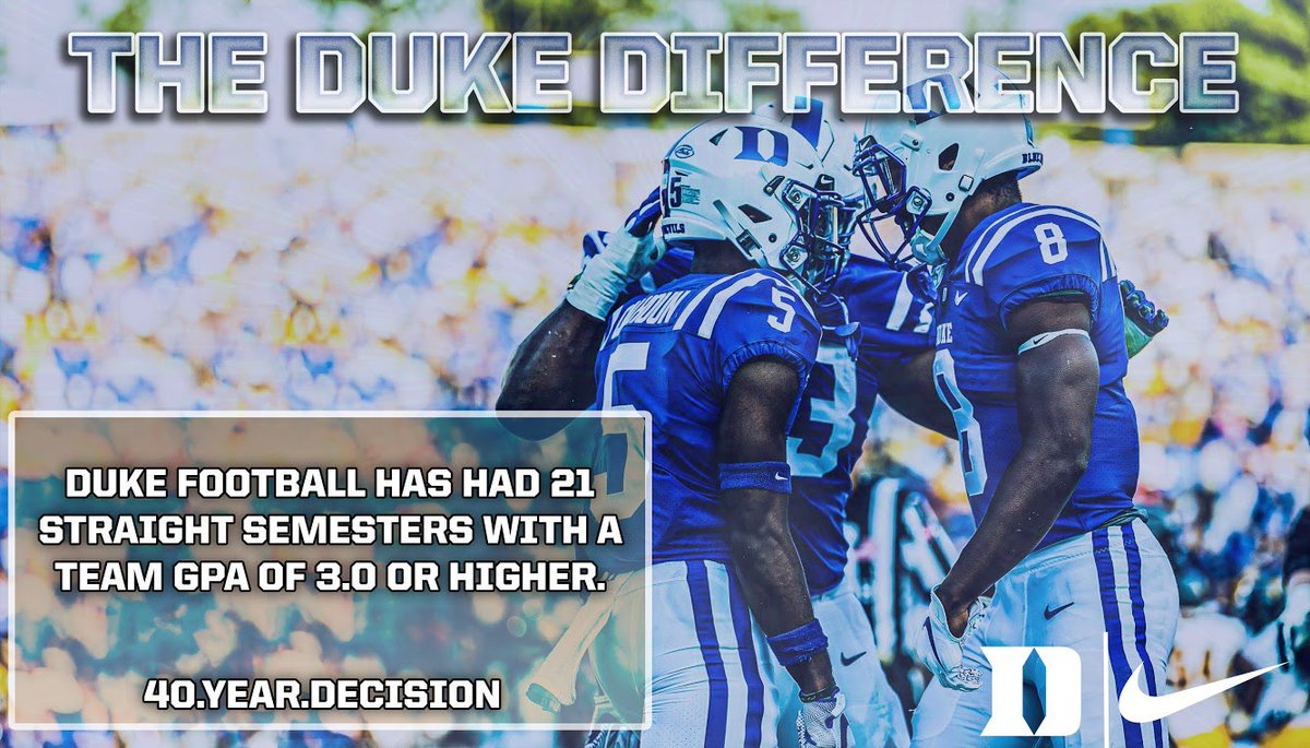 We don't just talk the academic talk, we walk the academic walk. #DukeGang