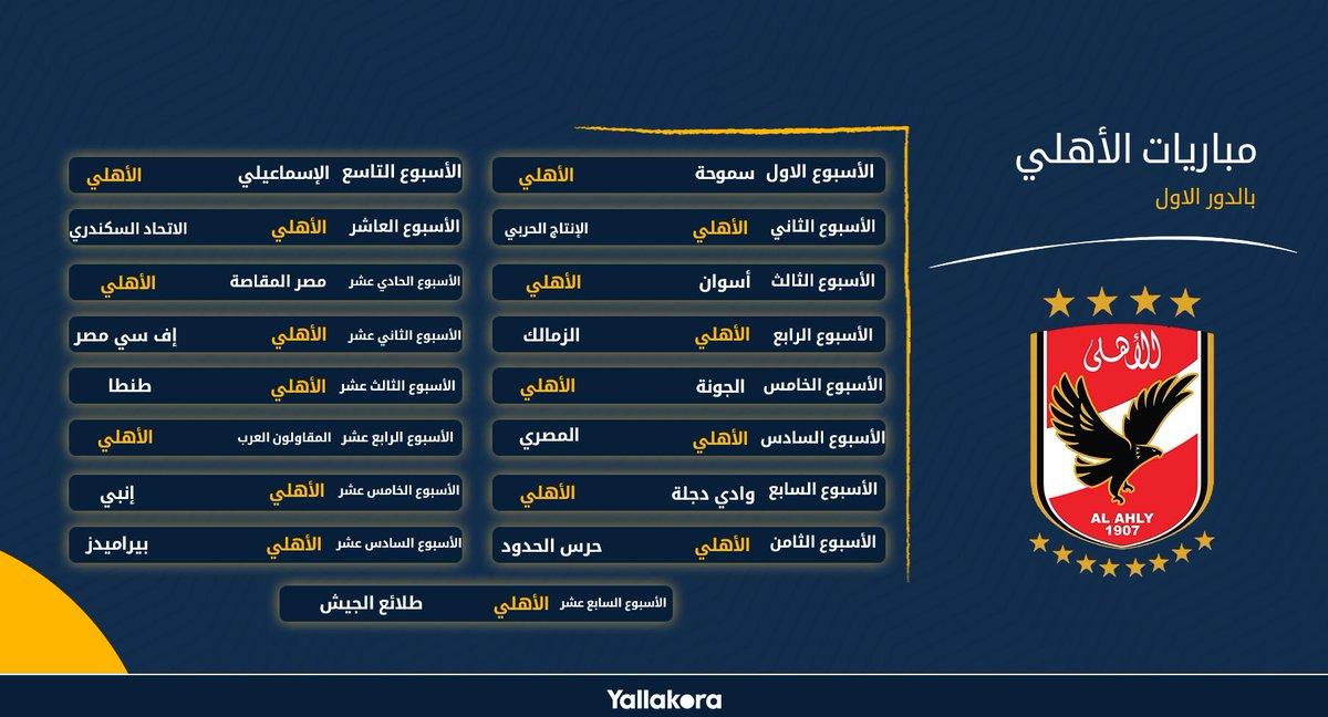 يلاكورة جدول مباريات الأهلي بالدور الاول في الدوري الممتاز