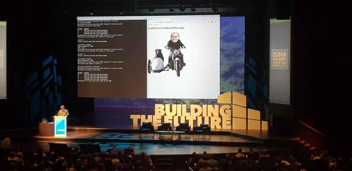 Zach Robinsons introduced app sidecars and versioned droplets for #cloudfoundry at #cfsummit #keynote at day2 - great features come along <br>http://pic.twitter.com/a9MxAy2ho1