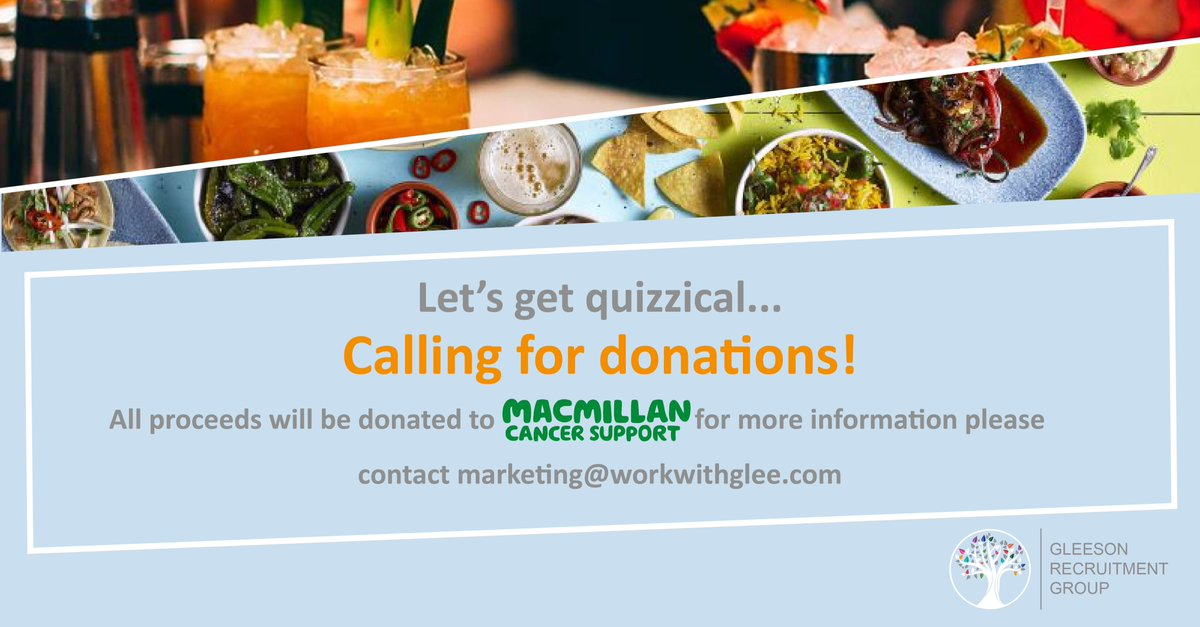 One week to go! Our GleeQuiz is around the corner and we have some exciting prizes up for grabs, but we are on the hunt for more! All proceeds will be donated to @macmillancancer, for more information please contact: marketing@workwithglee.com  #donate #macmillan #workwithglee <br>http://pic.twitter.com/NATo0c11o8