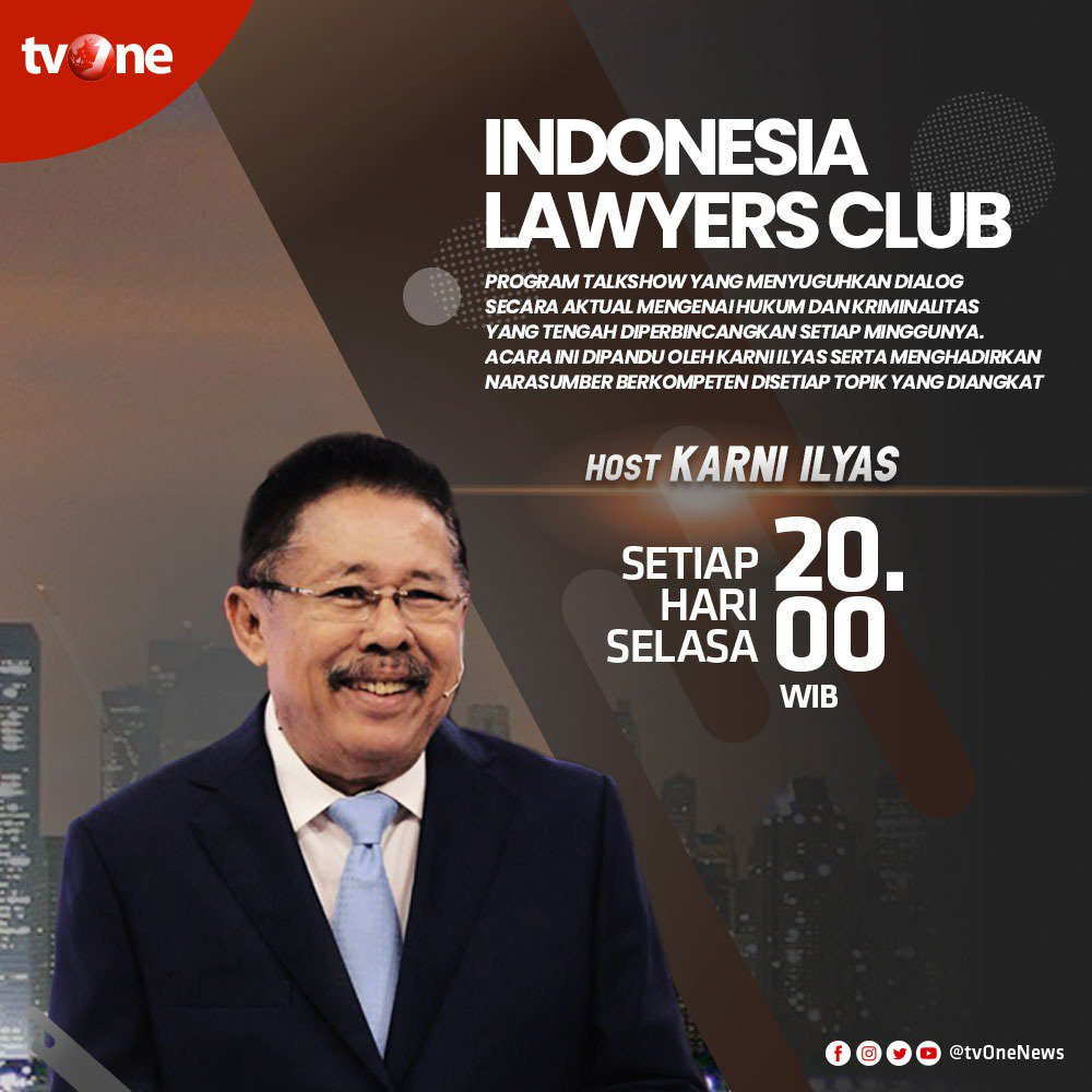 Jangan lewatkan program dialog Indonesia Lawyers Club bersama Karni Ilyas. Setiap Selasa pukul 20.00 WIB hanya di tvOne & streaming tvOne Connect android http://bit.ly/2EMxVdm  & ios http://apple.co/2CPK6U3 . #ILCtvOne