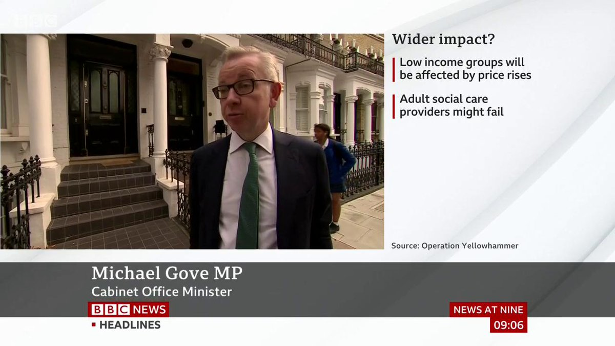 """The Yellowhammer documents are a worst case scenario"" says minister Michael Gove, adding that the government has taken ""significant steps"" in recent weeks to mitigate riskshttp://bbc.in/2mdpIG8  #Brexit"