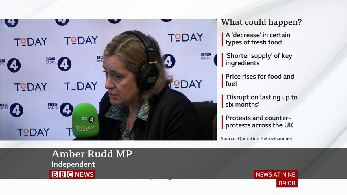 """""""We can, we hope, get all our medicine"""" - former minister Amber Rudd says ministers are working hard to put contingencies in place for a no-deal #Brexit, but risks cannot be totally mitigatedhttp://bbc.in/2mdpIG8 #Brexit #r4today"""