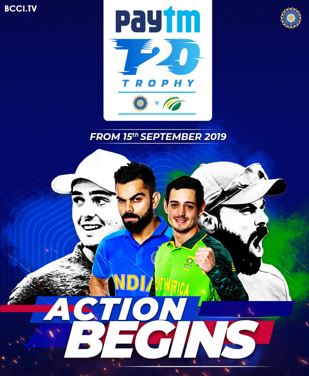 #TeamIndia will take on @OfficialCSA in the @Paytm T20 Trophy from September 15.  Who do you reckon will clinch this series?  #INDvSA<br>http://pic.twitter.com/UymGG1kxbt