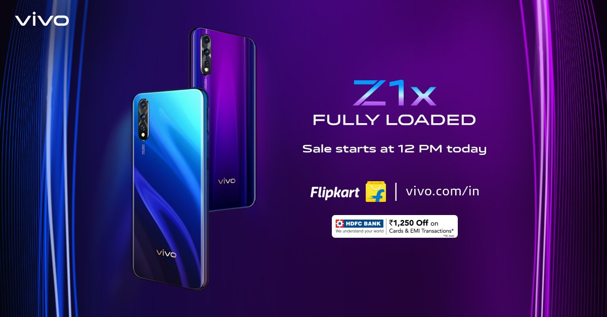 #FullyLoaded sale at 12 PM today! #vivoZ1x is here with 22.5W vivo FlashCharge, 4500mAh Battery, Flash In-Display Fingerprint, 48MP AI Triple Rear Camera & 32MP Front Camera. Avail exciting offers on your purchase on @Flipkart : http://bit.ly/2kcszP1 or http://vivo.com/in