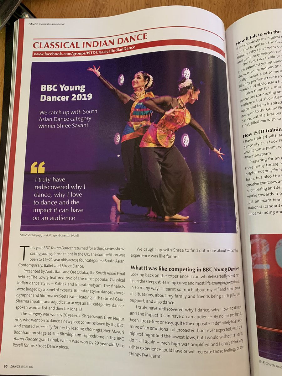Proud of Nupur Arts' alumni, @shree_savani in the latest edition of the @istddance magazine! Have a read of her experience as the first Bharatanatyam BBC Young Dancer Grand finalist as she reflects on her journey #bbcyoungdancer #bbcyoungdancer2019 #NupurArts https://t.co/Dri1d8buQN