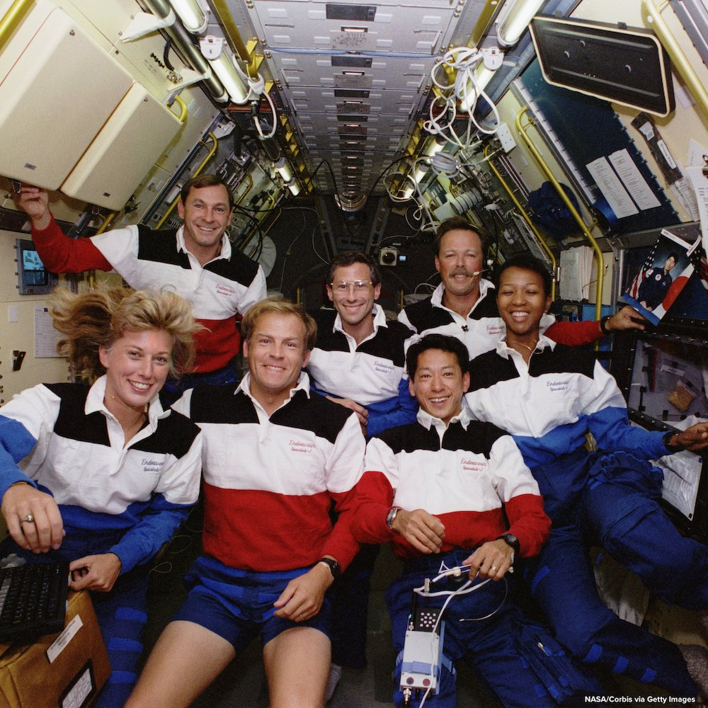 TODAY IN HISTORY: In 1992, the space shuttle Endeavour blasted off, carrying Jan Davis and Mark Lee, the first married couple in space; Mae Jemison, the first black woman in space; and Mamoru Mohri, the first Japanese national to fly on a U.S. spaceship. https://abcn.ws/2UT6rHo