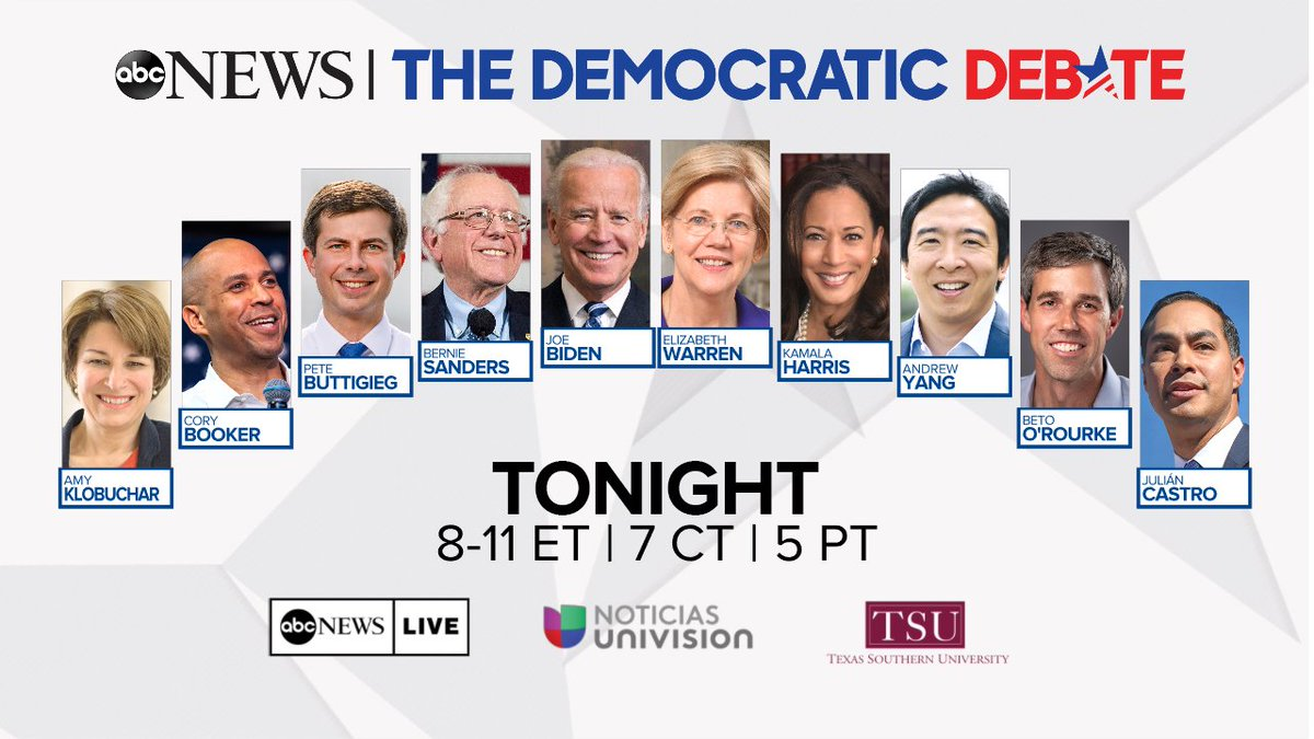 TONIGHT: 10 candidates converge on one stage in Houston for the most anticipated #DemDebate yet.Join @ABC News for complete live coverage on http://ABCNews.com/live or on all your favorite streaming devices. https://abcn.ws/2ULDkFC
