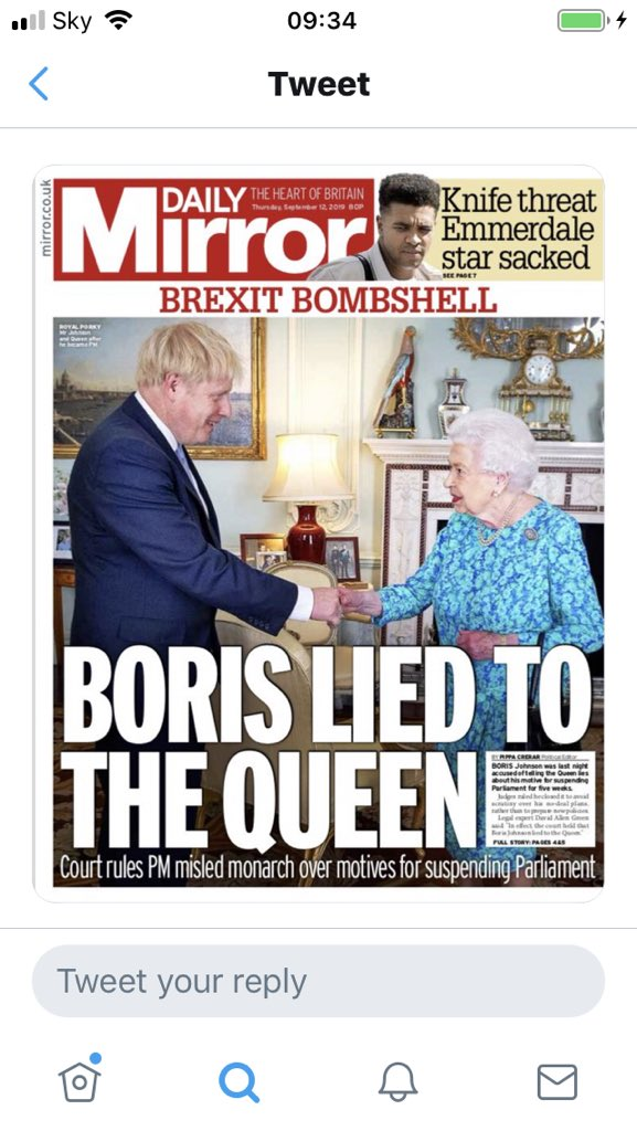 "Did you lie to the Queen? Boris Johnson ""No I got Rees Mogg to do it for me"". Slippery as ever."