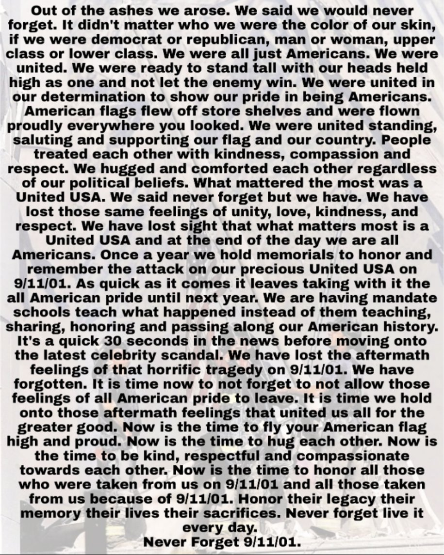 #WeWillNeverForget#Unitedwestand #dividedwefall#WhereWereYou #WhenTheWorldStopped #remember911#911remembered #911Anniversary #NeverForget #LetsRoll  #NeverForgotten #honor911 #honornetwork #bethegood 🇺🇸🇺🇸