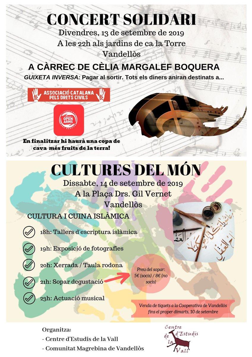 📌 Demà, divendres 13 de setembre a les 22:00 hores, concert solidari als jardins de Ca la Torre a Vandellòs i dissabte, 14 de setembre a partir de les 18:00 hores, festa de les cultures del món a la plaça Drs. Gil Vernet #Vandellòs #Cultura