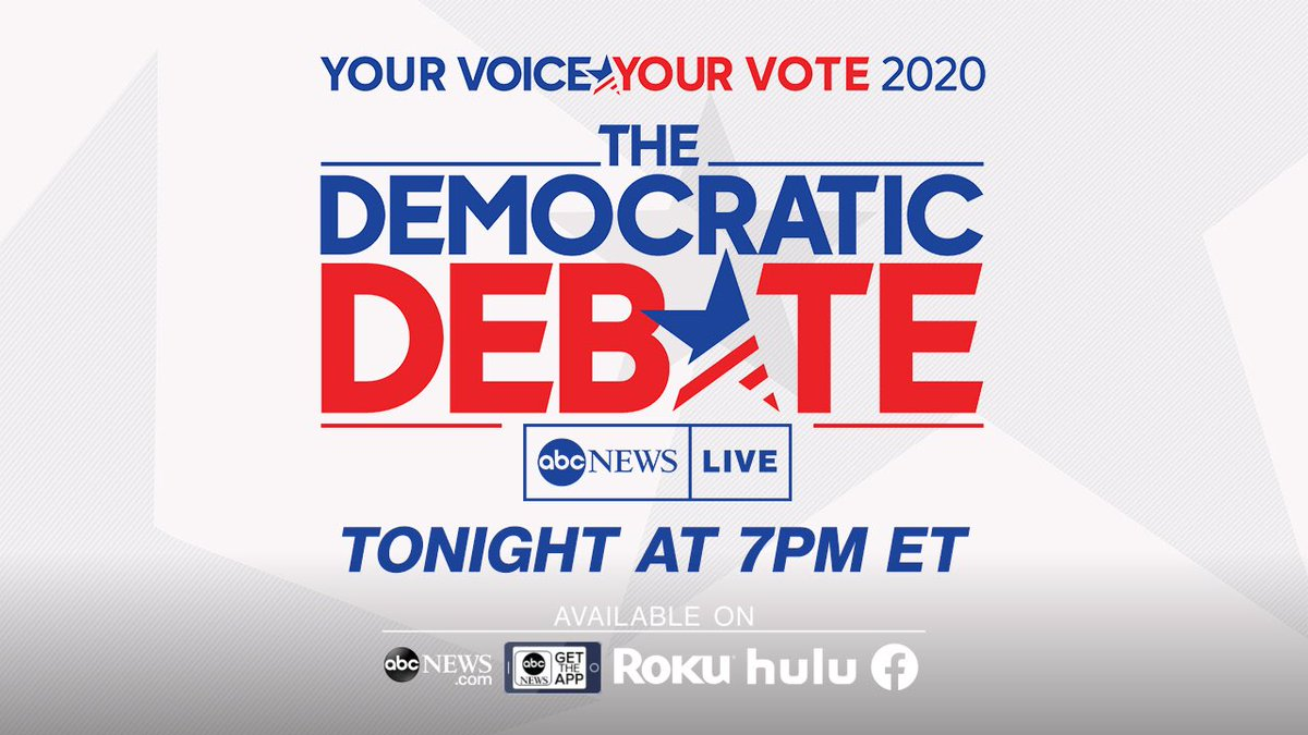 The biggest night of the campaign so far - 10 candidates on stage for tonight's @ABC Democratic primary debate in Houston. Special coverage begins at 7p ET on @ABCNewsLive and 8p ET on @ABCNetwork. Watch at http://abcnews.com/live or your favorite streaming device #DemDebate