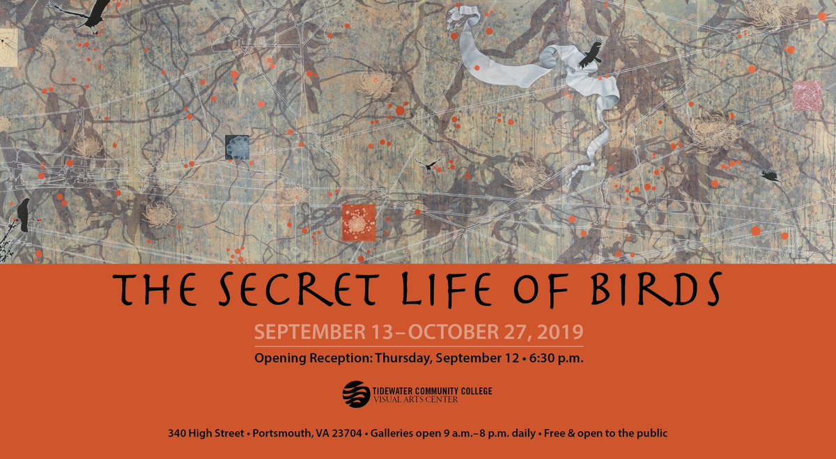 Tonight @TCCVAC Opening Reception for The Secret Life of Birds Exhibition. Join us at 6:30 p.m. #artists #photography #mixedmedia #drawing #painting @TCCva