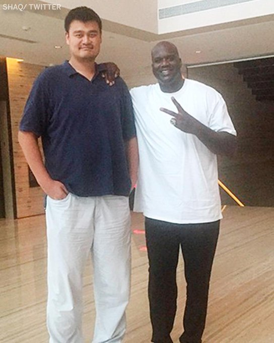 "Everyone looks small compared to Yao Ming.   Happy Birthday to the 7\6"" legend."