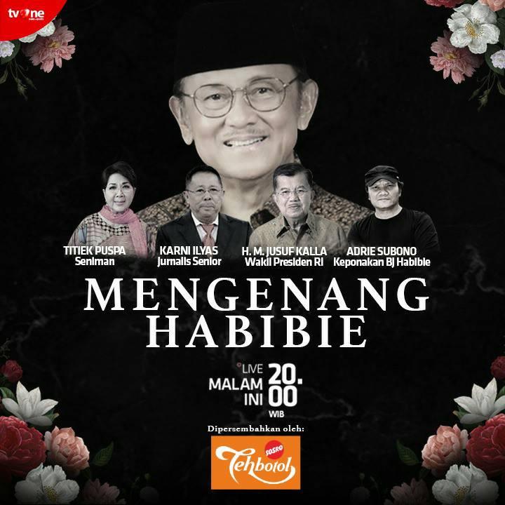 Kepergian Presiden ke-3 RI, B.J. Habibie meninggalkan kenangan indah dan mendalam bagi bangsa Indonesia. Saksikan program Spesial Mengenang Habibie, LIVE malam ini jam 20.00 WIB hanya di tvOne. #MengenangHabibie #tvOneNews #BJHabibie