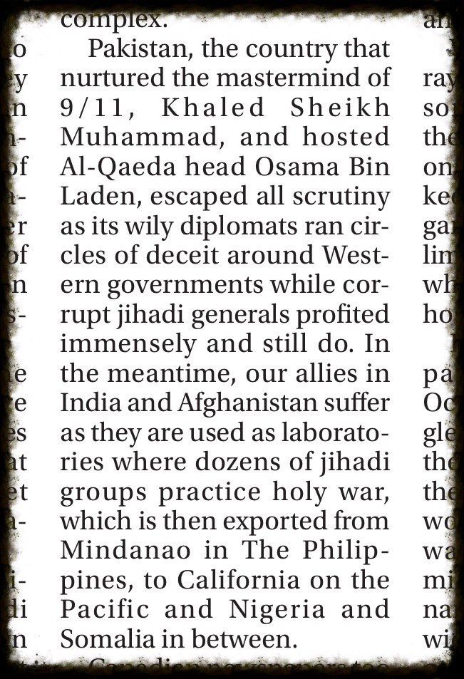 """""""Pakistan, the country that nurtured 9/11 mastermind #KhaledSheikMuhamad & hosted #AlQaeda head #BinLaden, escaped all scrutiny as its wily diplomats ran circles of deceit around Western govts while corrupt jihadi generals profited...""""  https:// torontosun.com/opinion/column ists/fatah-18-years-after-9-11-our-enemy-is-stronger  … <br>http://pic.twitter.com/1K8bFfCL6F"""