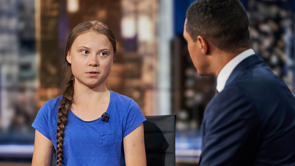 The wee yin—who is, in truth, a titan—doing really well, under a major US media spotlight. And what a champ @trevornoah is too. @gretathunberg