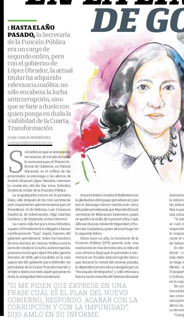 Les invito a leer el reportaje aparecido hoy en @EjeCentral sobre nuestros esfuerzos por rescatar la importancia de la @SFP_mx en la #4aTransformacionhttp://www.ejecentral.com.mx/entrevista-irma-erendira-sandoval-sembradora-de-la-nueva-etica-publica/…