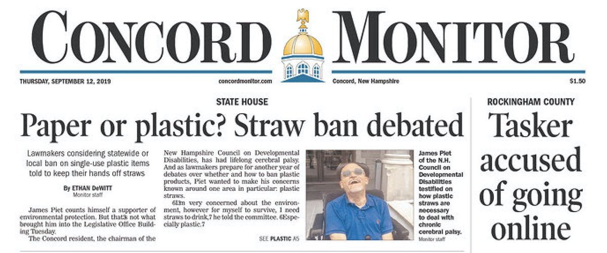 """From the Concord Monitor: """"Paper or plastic? Straw ban debated""""    There is no debate, paper straws SUCK!   Granite Staters, buy your plastic Trump Straws here -->   https://shop.donaldjtrump.com/products/trump-straws/…"""