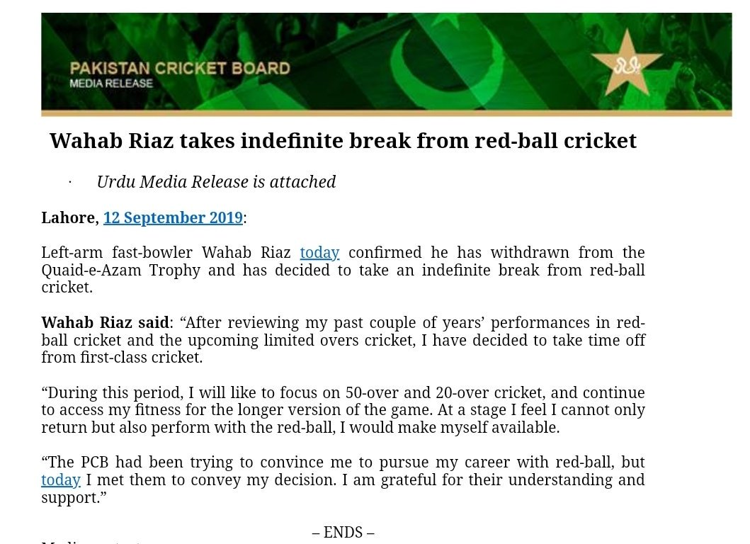 Fast bowler @WahabViki takes indefinite break from red-ball cricketMore ▶️https://www.pcb.com.pk/press-release-detail/wahab-riaz-takes-indefinite-break-from-red-ball-cricket.html …