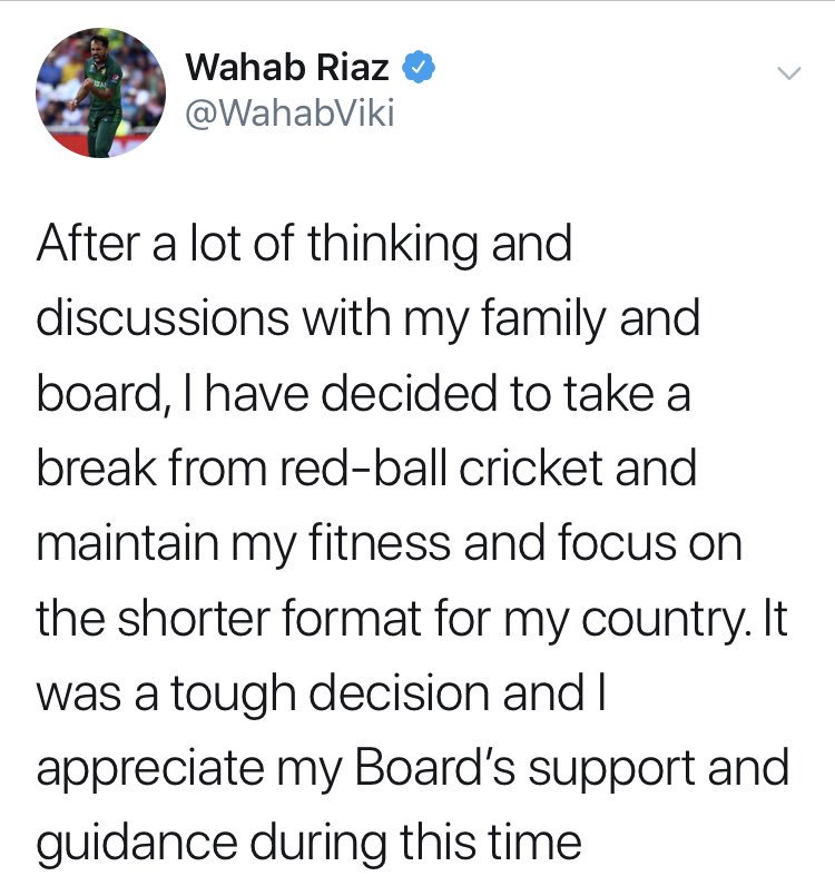 Important announcement from @wahabviki , he's taking a break from red ball cricket to focus on the shorter formats. Best of luck champ!