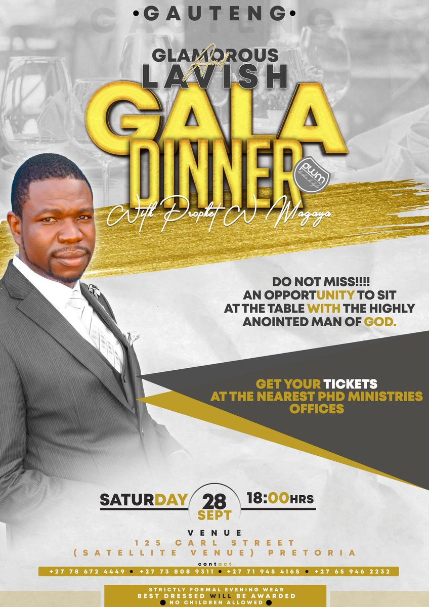 You're all invited to a Glamorous and Lavish Gala Dinner with Prophet W Magaya https://t.co/76dyqtR7kX