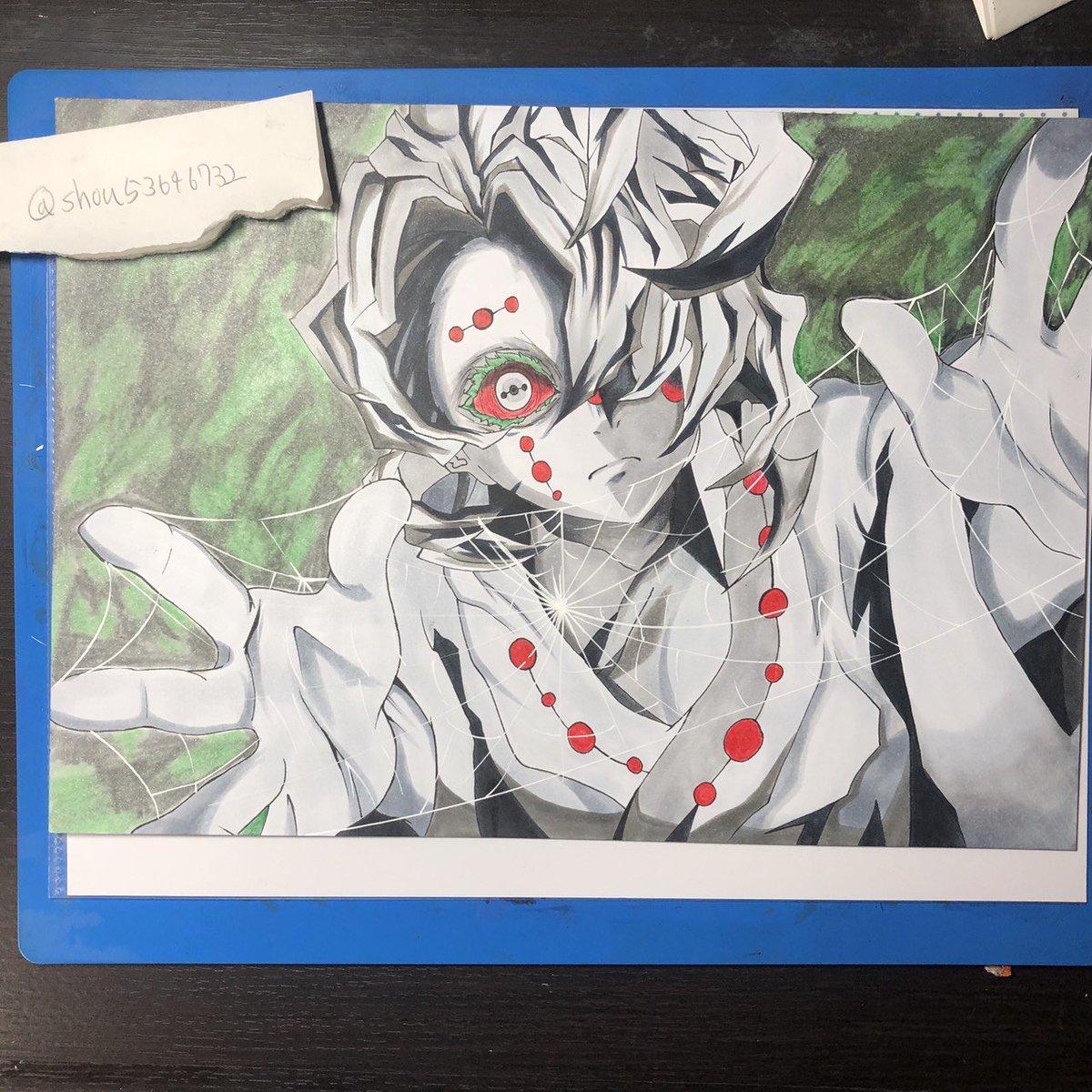 一応、鬼滅の刃の累としのぶさんを描いてみました! 累は、6時間ほどしのぶさんは、3時間ちょいで描きました!(o^^o)