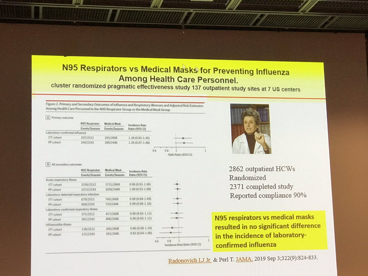 No difference between N95 masks and standard medical masks in the incidence of influenza #icpic2019 @TperlTrish<br>http://pic.twitter.com/roPgbOju6d