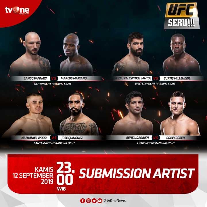"""Jangan lewatkan pertandingan seru dan panas di UFC Seru!!! """"Submission Artist"""".Kamis, 12 September 2019 jam 23.00 hanya di tvOne & streaming tvOne connect, android http://bit.ly/2EMxVdm & ios http://apple.co/2CPK6U3#UFCSeru #SubmissionArtist"""