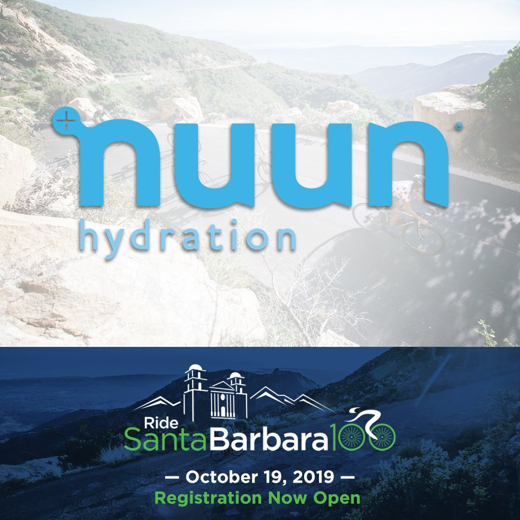We're pleased to welcome @NuunHydration to the Ride Santa Barbara 100! Nuun will provide electrolyte hydration products on the ride on October 19. #makeyourwatercount  #RideSB100 #GibraltarChallenge #Cycling #Bikes #BikeRide #CenturyRide #Fitness #Endurance<br>http://pic.twitter.com/wPfPQMS9Ek